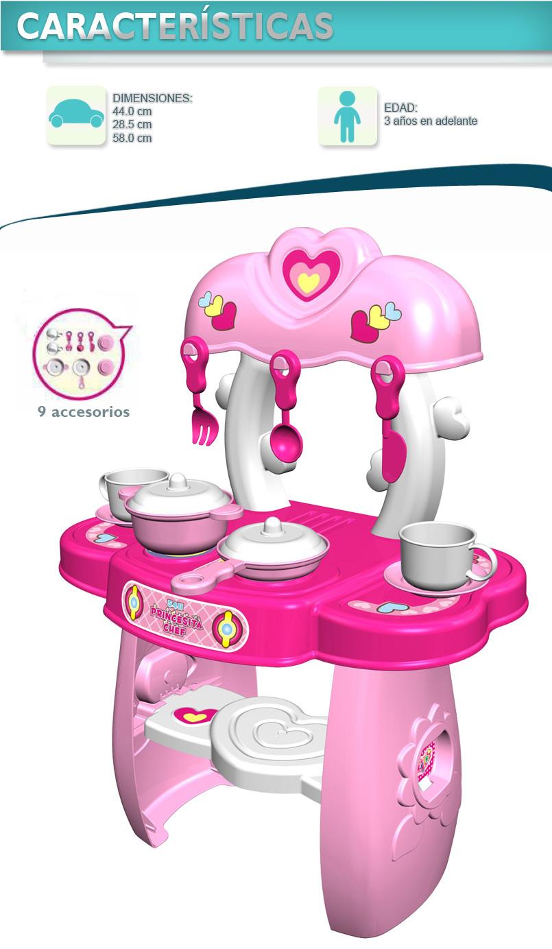 Cocina infantil candy chef color rosa con 9 accesorios e for Accesorios para chef
